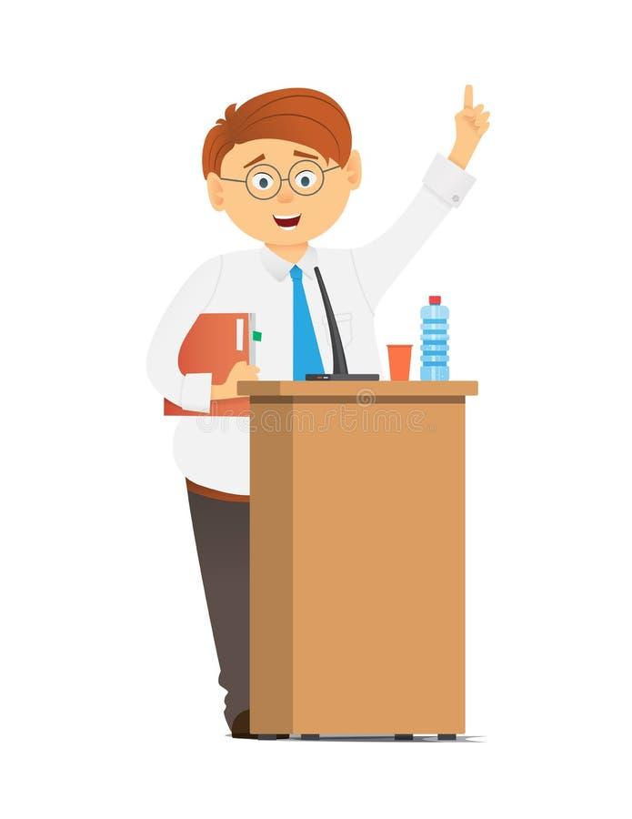 Hombre de negocios o político en traje en la tribuna con los micrófonos que hacen un discurso stock de ilustración