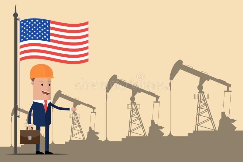 Hombre de negocios o político en un casco debajo de la bandera americana en el fondo de las bombas de aceite Ilustración del vect ilustración del vector