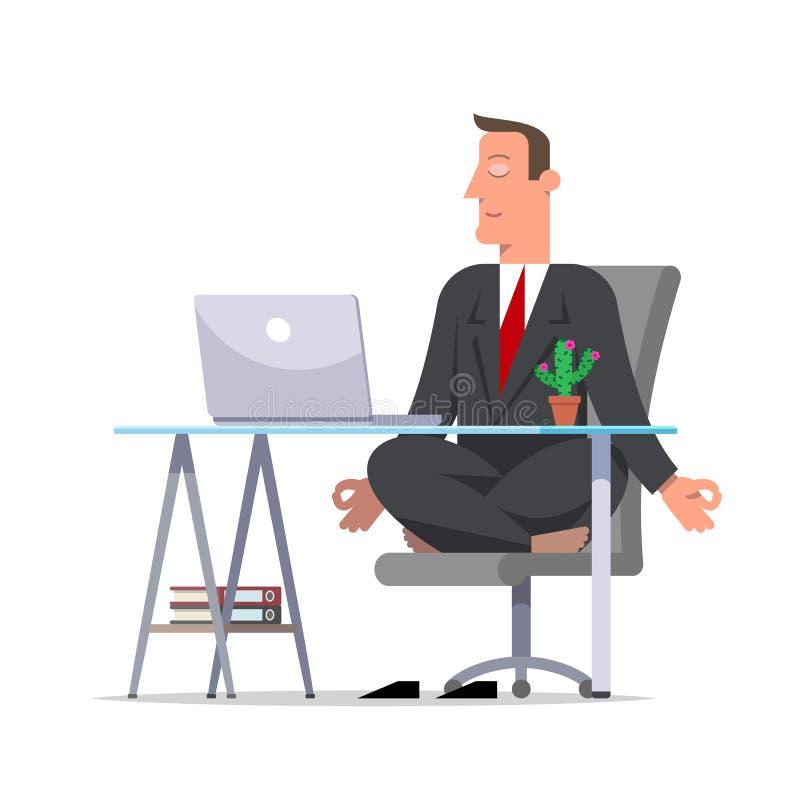 Hombre de negocios o vendedor en un traje negro que medita en sittin de la oficina libre illustration