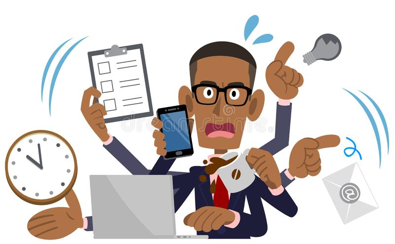 Hombre de negocios ocupado, hombre afroamericano, negro libre illustration