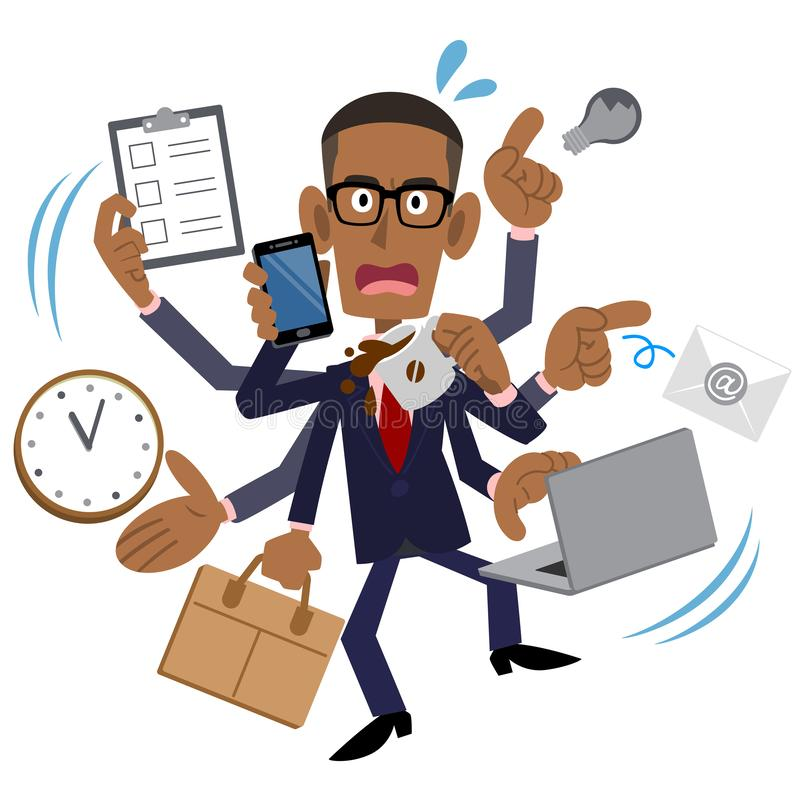 Hombre de negocios ocupado, hombre afroamericano, negro stock de ilustración