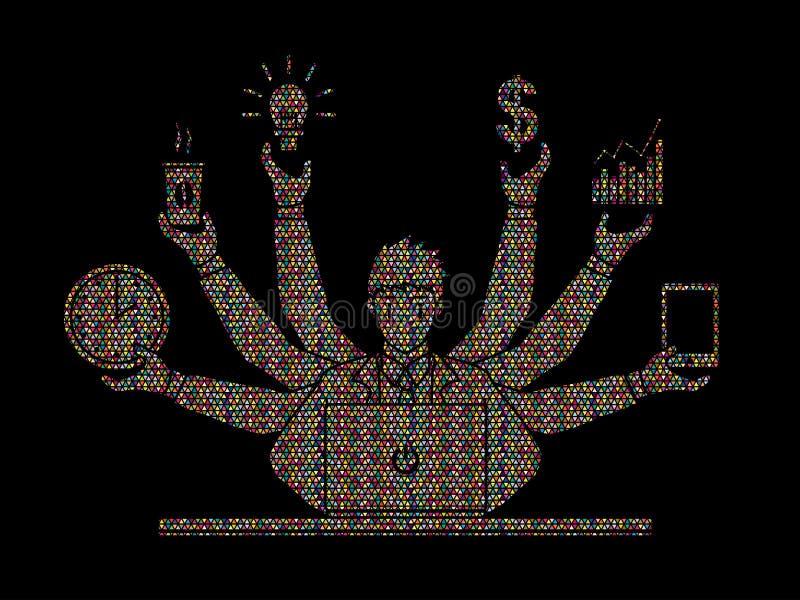 Hombre de negocios ocupado con muchas manos que llevan a cabo muchos artículos ilustración del vector