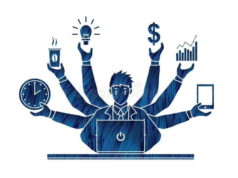 Hombre de negocios ocupado con muchas manos que llevan a cabo muchos artículos libre illustration