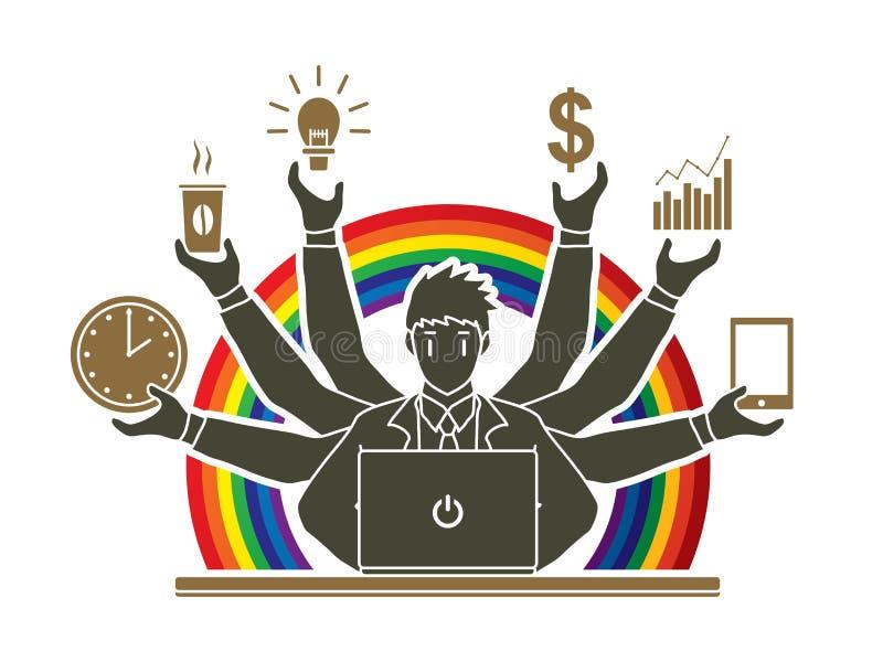 Hombre de negocios ocupado con muchas manos que llevan a cabo muchos artículos stock de ilustración