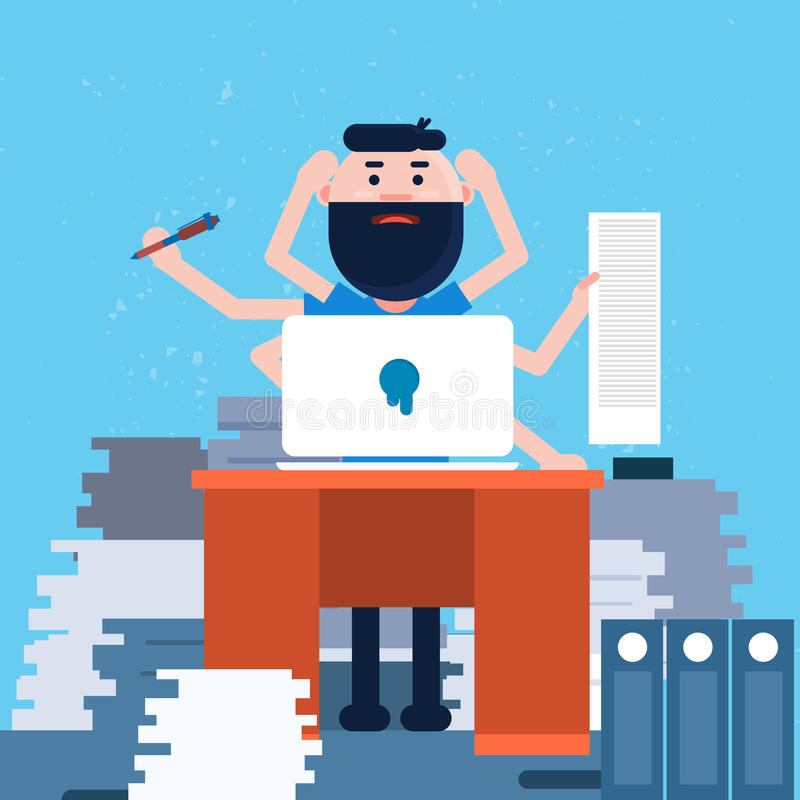 Hombre de negocios ocupado con muchas manos que trabajan la mesa de la oficina libre illustration