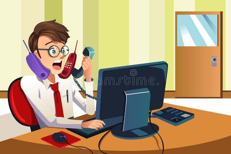 Hombre de negocios ocupado en el teléfono ilustración del vector