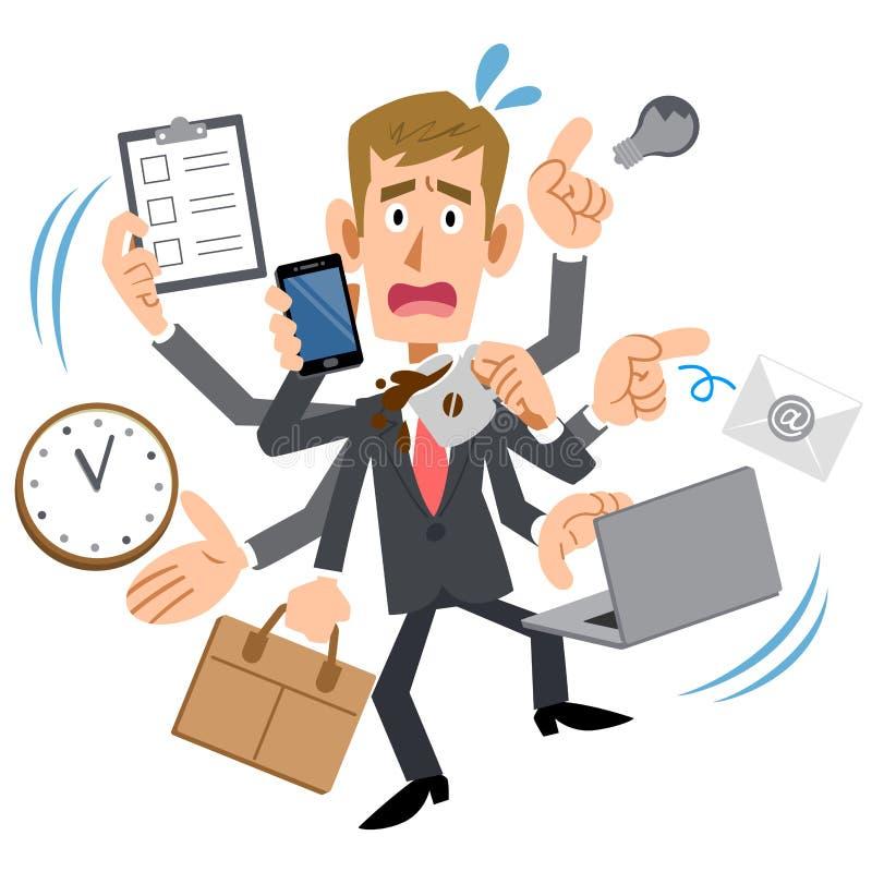 Hombre de negocios ocupado, hombre joven, pelo de Brown, blanco ilustración del vector