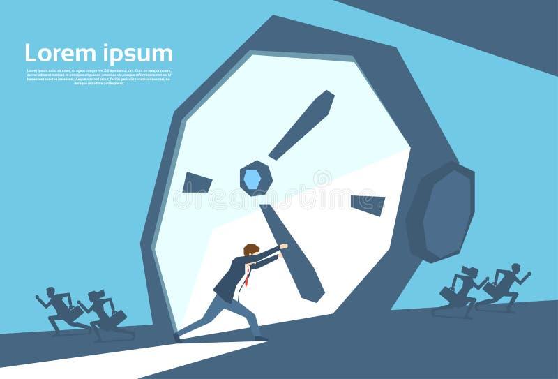 Hombre de negocios ocupado No Time de la flecha del reloj del empuje del hombre de negocios libre illustration