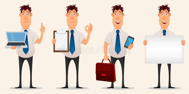Hombre de negocios, oficinista Personaje de dibujos animados Sistema de cuatro variaciones del hombre joven creativo ilustración del vector