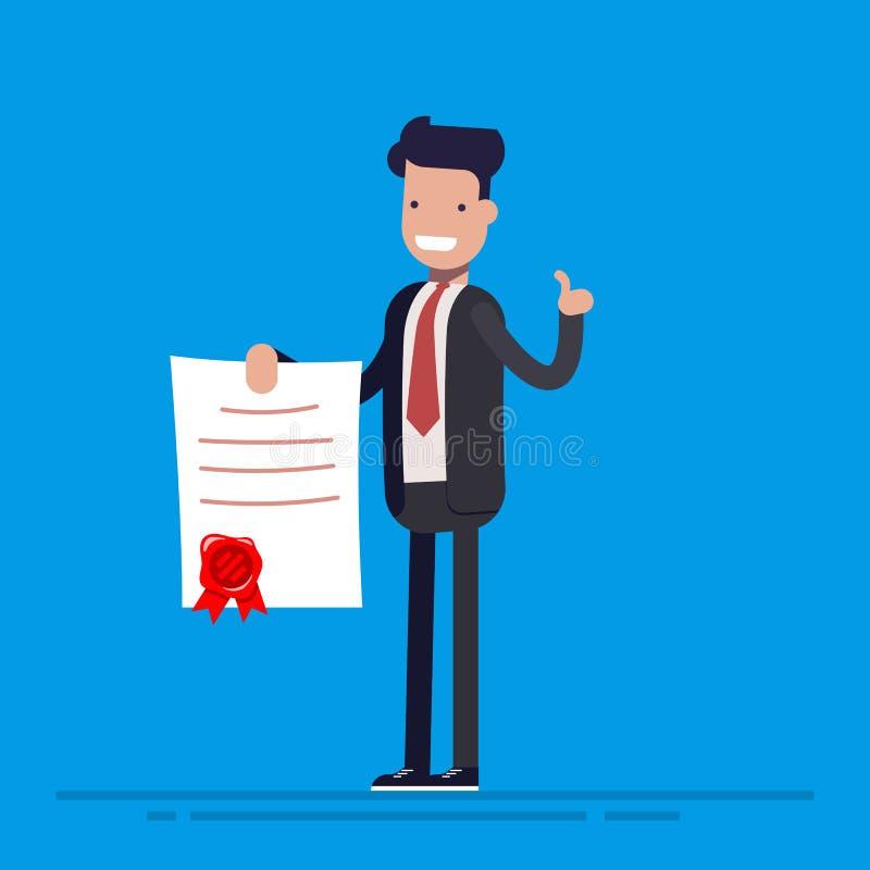 Hombre de negocios orgulloso o alegría que coloca y que muestra un diploma Ejemplo plano del vector en estilo de la historieta ilustración del vector
