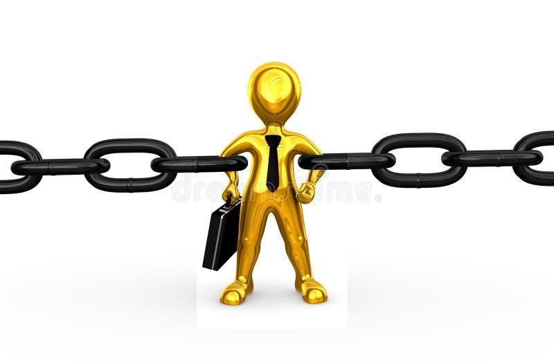 hombre de negocios de oro fuerte 3d como alambrada libre illustration