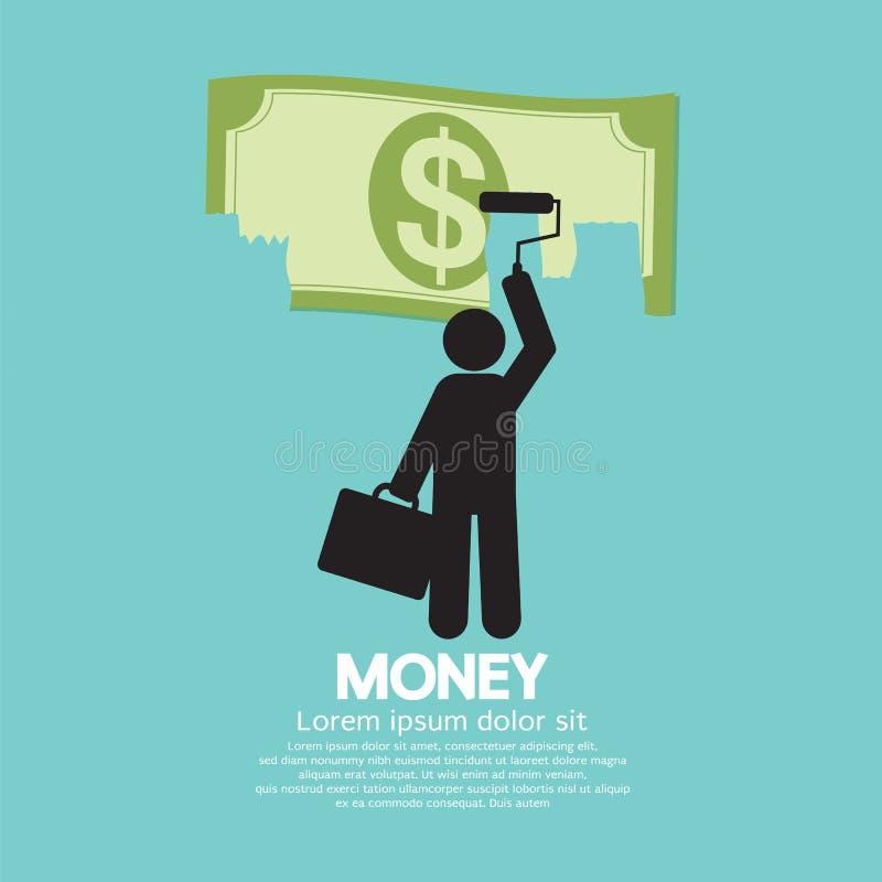 Hombre de negocios Painting Banknote stock de ilustración