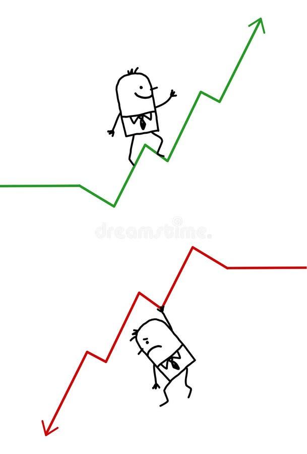Hombre de negocios para arriba y abajo stock de ilustración