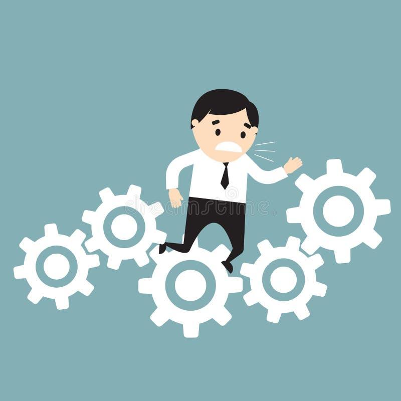 Hombre de negocios pegado en engranajes Concepto del fall Ilustración del vector stock de ilustración