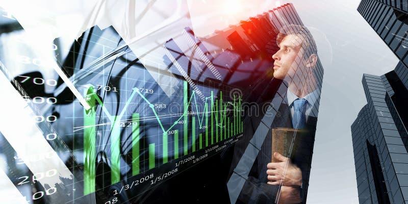 Hombre de negocios pensativo con el diario en manos ilustración del vector