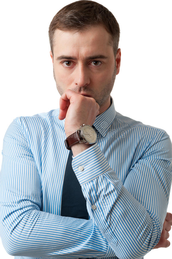 Hombre de negocios pensativo con la mano en cara en el fondo blanco foto de archivo libre de regalías