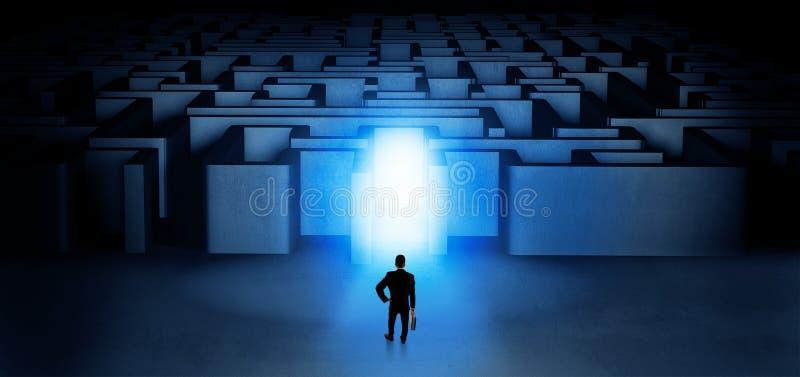 Hombre de negocios perdido que se coloca en la entrada iluminada del laberinto stock de ilustración