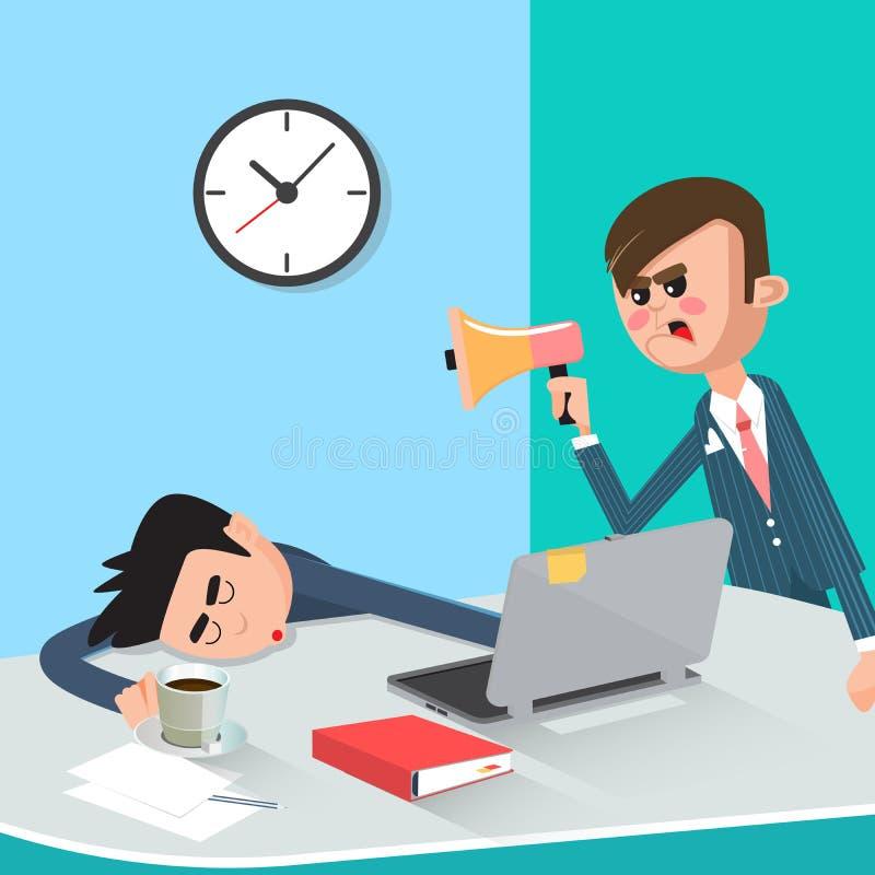 Hombre de negocios perezoso Sleeping en el trabajo Boss enojado Found Sleeping Worker ilustración del vector