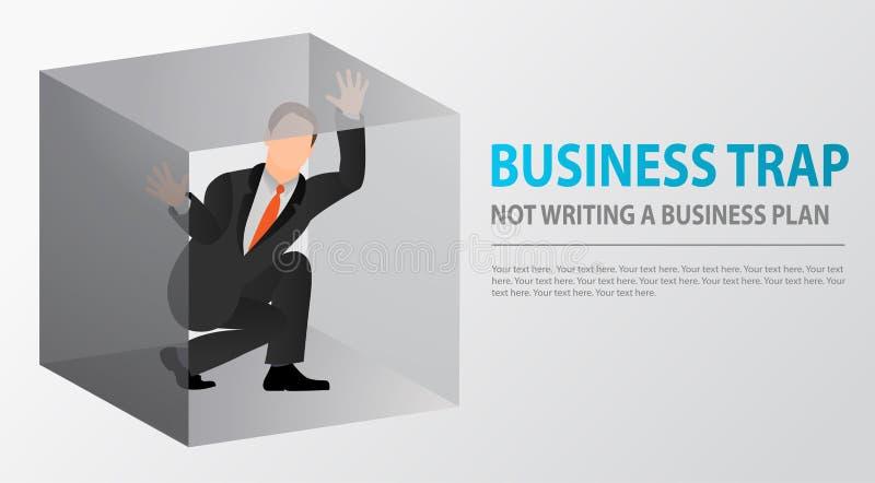 Hombre de negocios plano atrapado dentro de la pequeña caja incómoda claustrophobia Miedo de espacios cerrados Problemas y fracas ilustración del vector