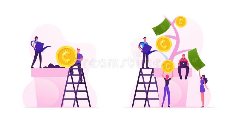 Hombre de negocios pone moneda en el suelo, mujer regando una planta en una olla Personajes que recogen monedas de oro del árbol  ilustración del vector
