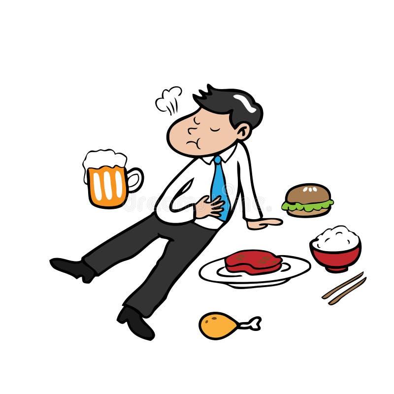 Hombre de negocios por completo de la comida ilustración del vector