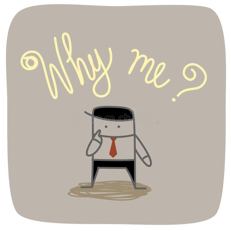Hombre de negocios porqué yo pregunta ilustración del vector