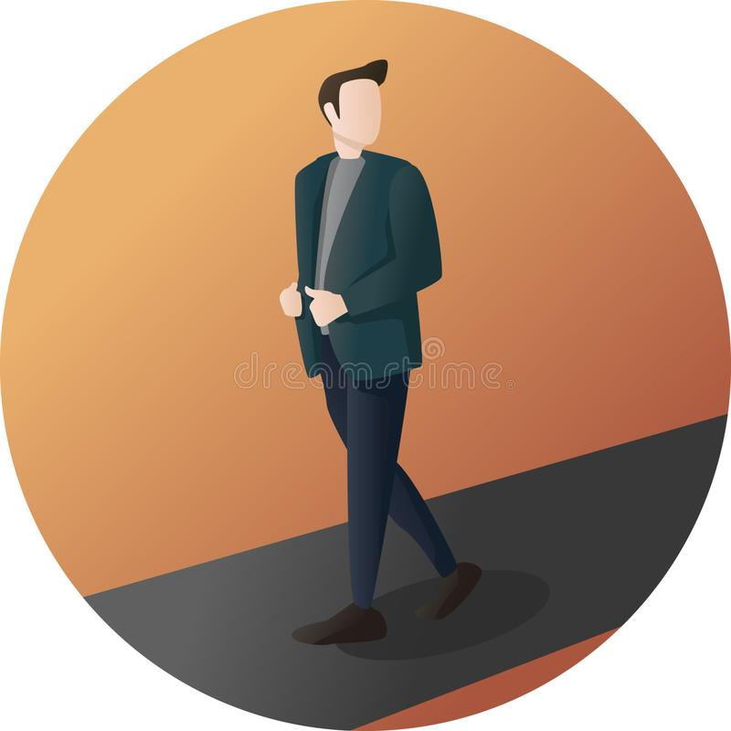 Hombre de negocios Pose Character stock de ilustración