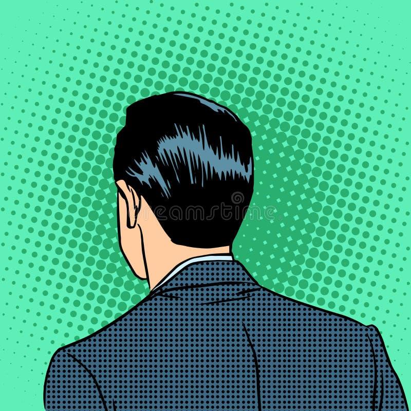 Hombre de negocios principal trasero ilustración del vector