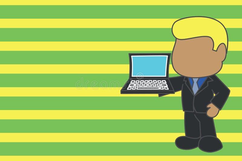 Hombre de negocios profesional permanente que sostiene la corbata abierta del traje del lado de mano derecha del ordenador port?t stock de ilustración