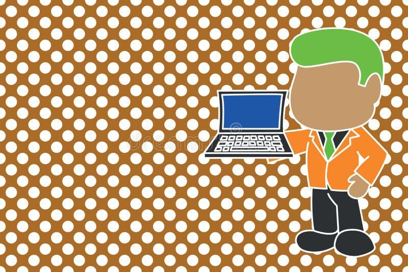 Hombre de negocios profesional permanente que sostiene la corbata abierta del traje del lado de mano derecha del ordenador port?t libre illustration