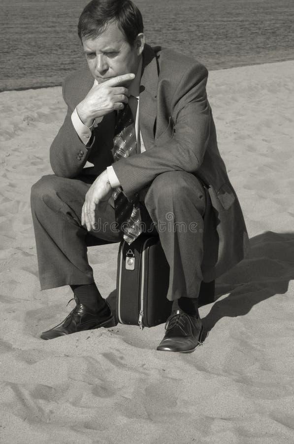 Hombre de negocios profundamente en pensamiento fotografía de archivo