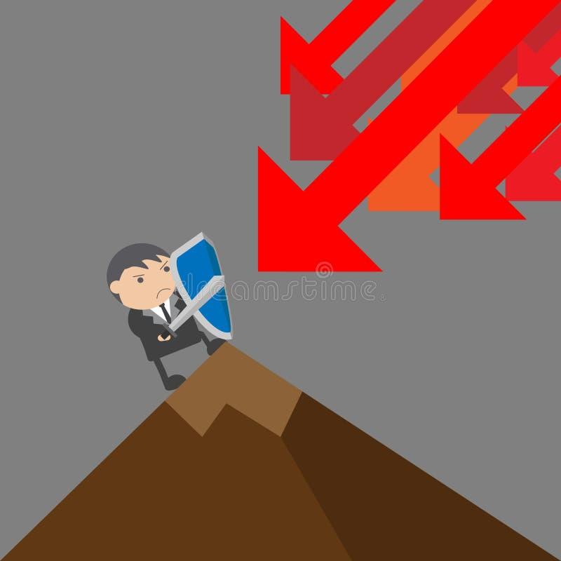 Hombre de negocios Protect Concepto del extracto del personaje de dibujos animados del ejemplo del vector del garabato imágenes de archivo libres de regalías