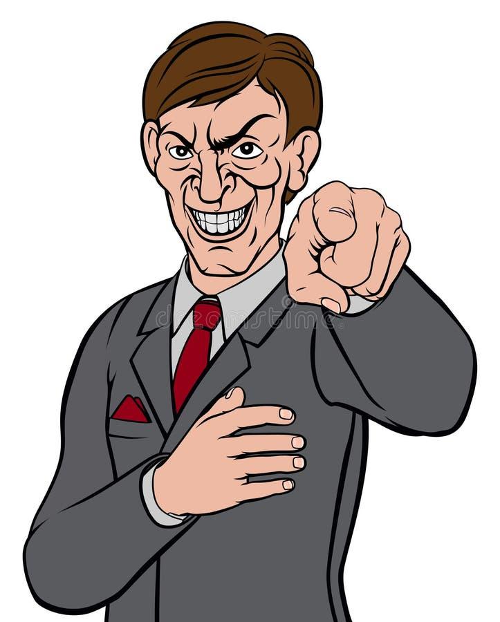 Hombre de negocios punteagudo malvado ilustración del vector
