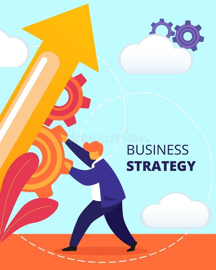 Hombre de negocios Push Cogwheel para dirigir la flecha enorme para arriba ilustración del vector