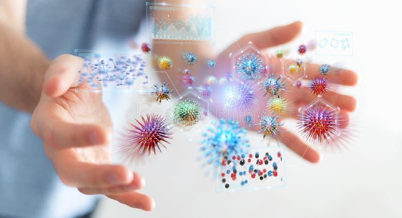 Hombre de negocios que analiza la representación microscópica del primer 3D de las bacterias stock de ilustración