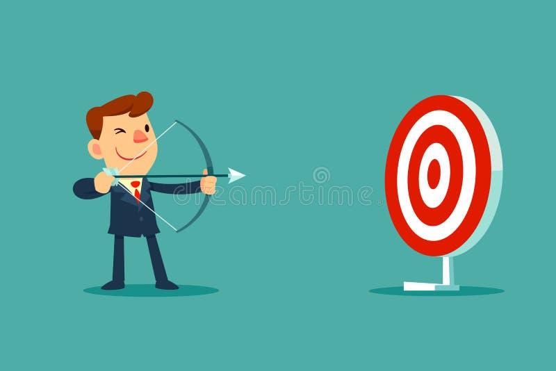 Hombre de negocios que apunta la blanco con el arco y la flecha libre illustration