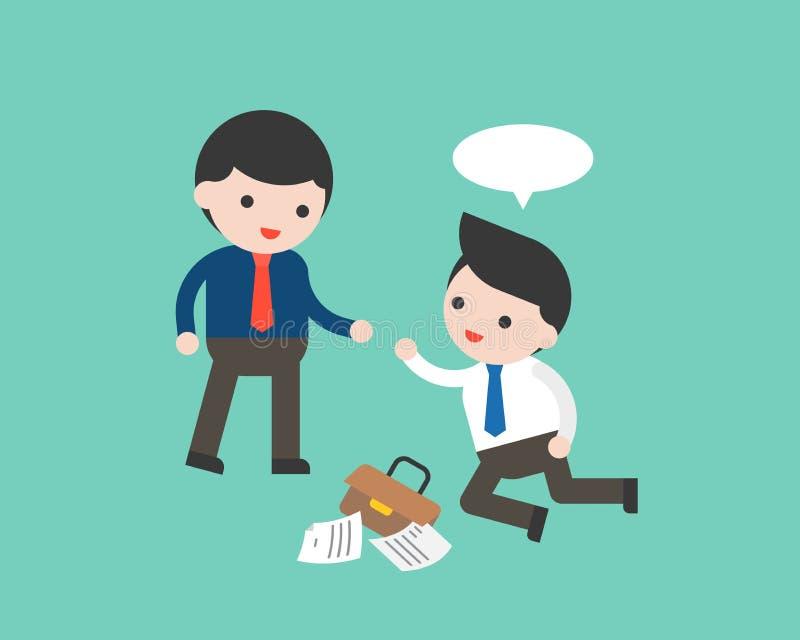 Hombre de negocios que ayuda a uno otro que baja abajo, sobre negocio ilustración del vector