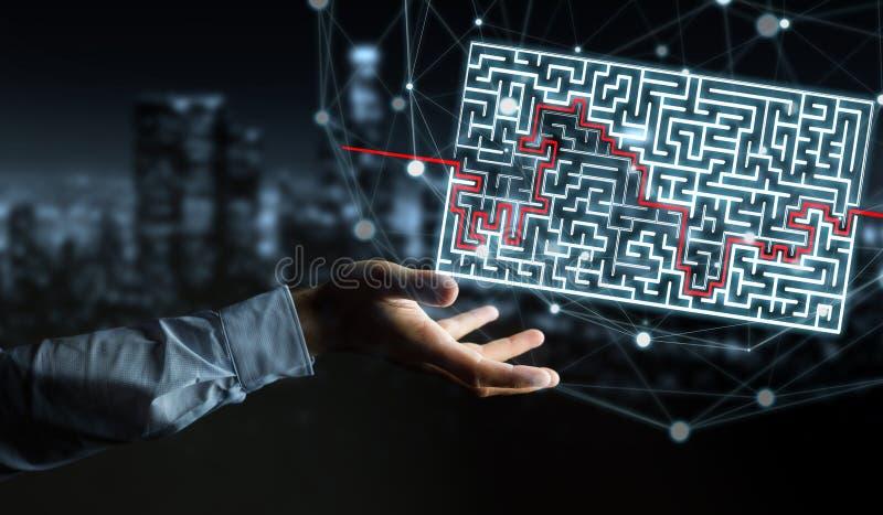 Hombre de negocios que busca la solución de un laberinto complicado libre illustration