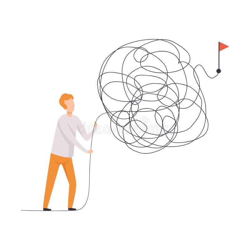 Hombre de negocios que busca maneras al símbolo del éxito, hombre que soluciona el ejemplo complicado del vector del problema ilustración del vector
