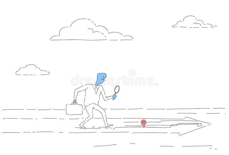 Hombre de negocios que busca para el destino en concepto de la navegación de los Gps del mapa de la ciudad de Digitaces libre illustration