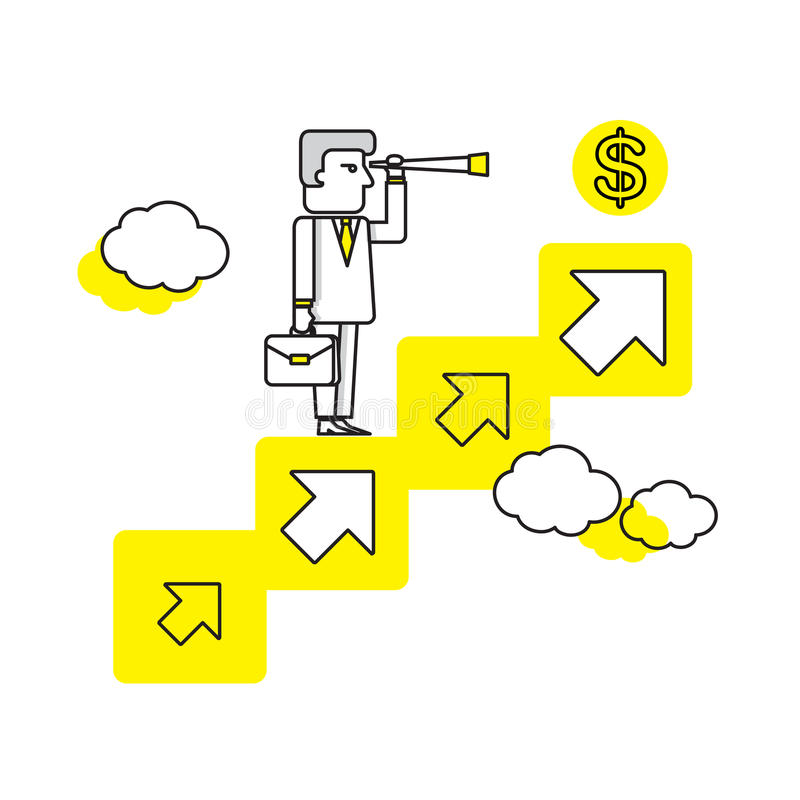 Hombre de negocios que busca para las oportunidades Ejemplo plano del vector Concepto del asunto stock de ilustración
