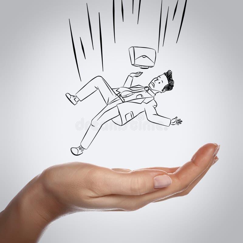 Hombre de negocios que cae abajo en la mano libre illustration