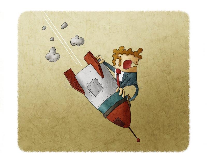 Hombre de negocios que cae abajo encima de un cohete El fracaso de negocio, el cohete baja abajo El concepto de fallado empieza p stock de ilustración