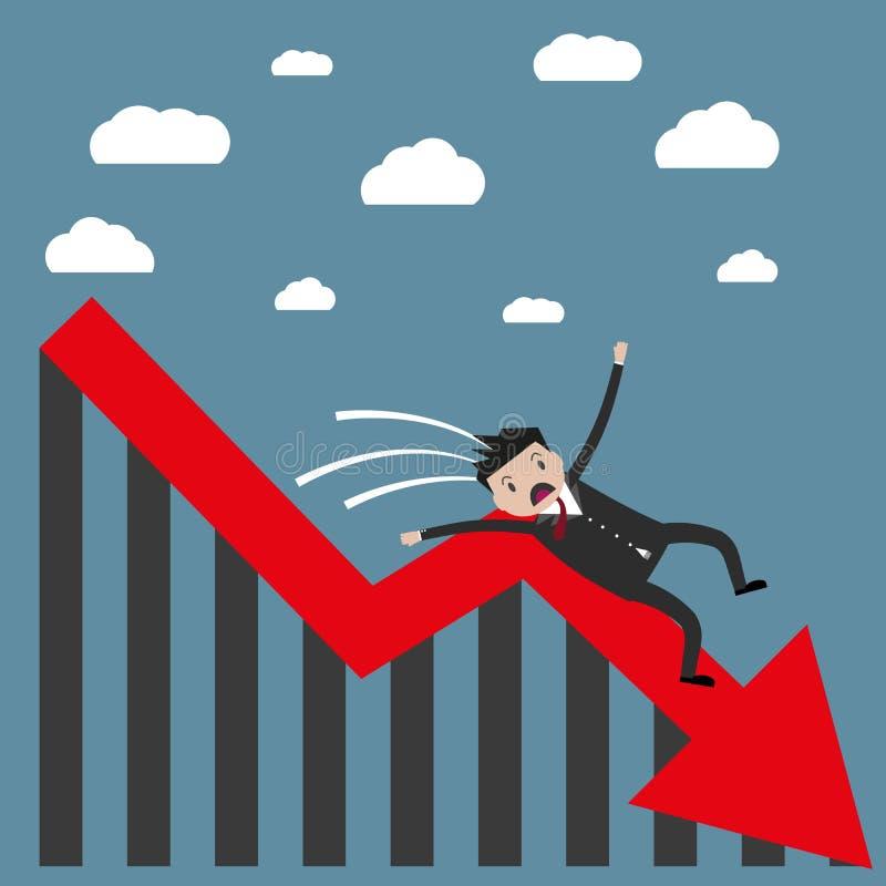 Hombre de negocios que cae de la carta libre illustration