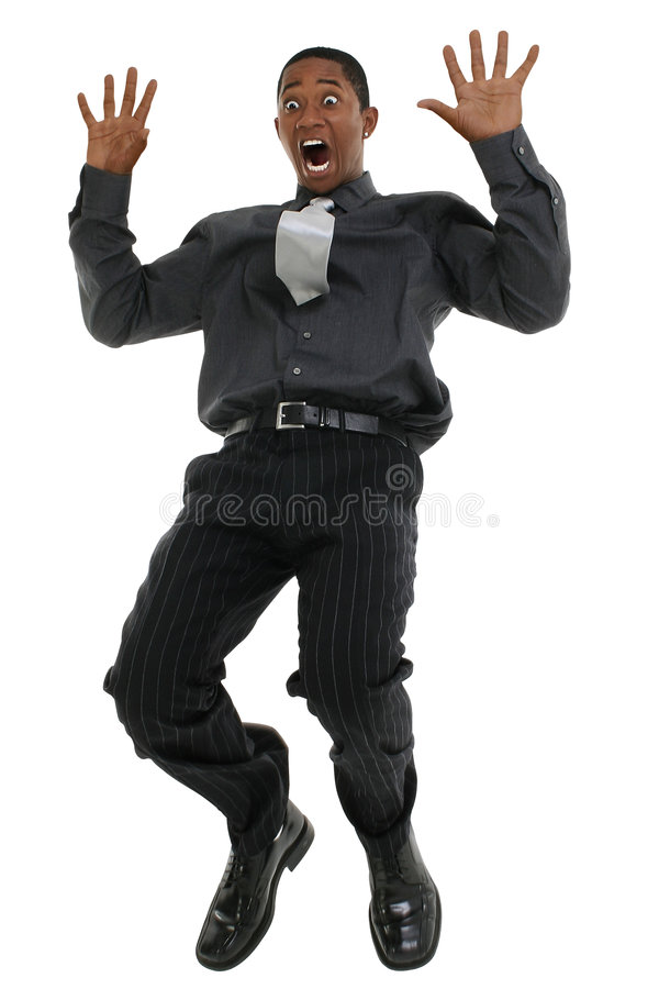 Hombre de negocios que cae y que grita imagenes de archivo
