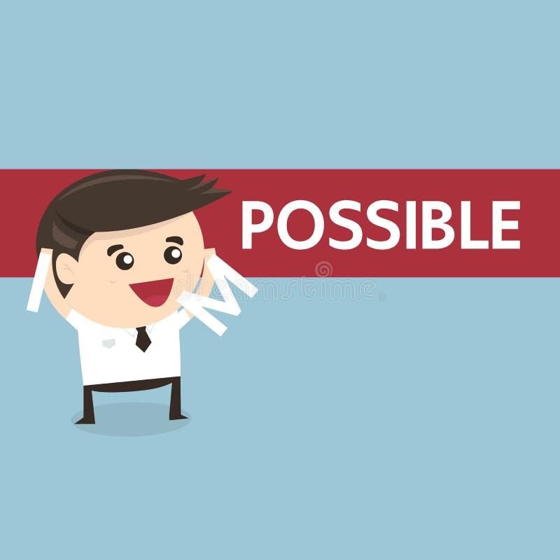 Hombre de negocios que cambia la palabra imposible en posible stock de ilustración