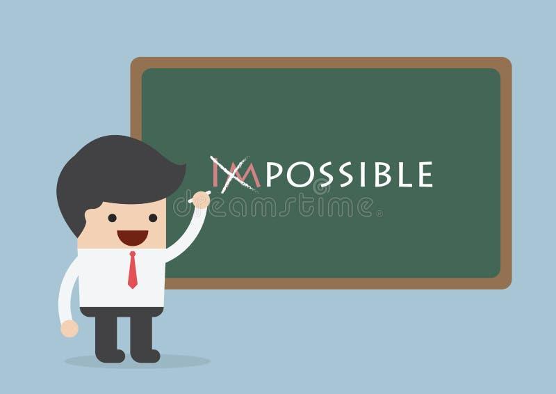 Hombre de negocios que cambia la palabra imposible en posible, Motivati stock de ilustración