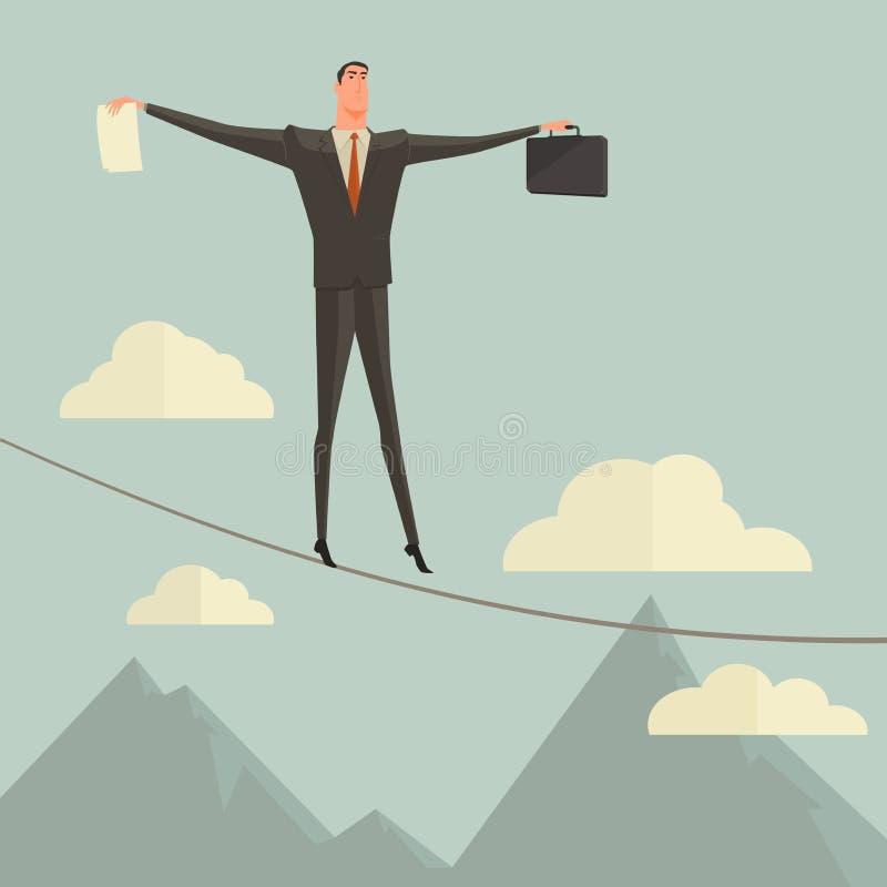 Hombre de negocios que camina en equilibrio en cuerda sobre el cielo azul ilustración del vector