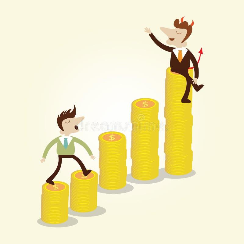 Hombre de negocios que camina en la escalera de levantamiento del gráfico de la moneda de oro con negocio ilustración del vector