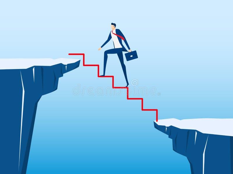 Hombre de negocios que camina en la escalera para cruzar con el hueco entre la colina Paso de la escalera al éxito Riesgo de nego ilustración del vector